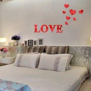Image 4 - חדש סגנון מראה קיר מדבקות אקריליק 3d מראה אהבת לב קישוט בית אמנות קיר מדבקות