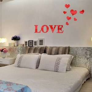 Image 4 - New style Mirror wall stickers Acrylic 3d mirror Love heart decoration Home art wall stickers