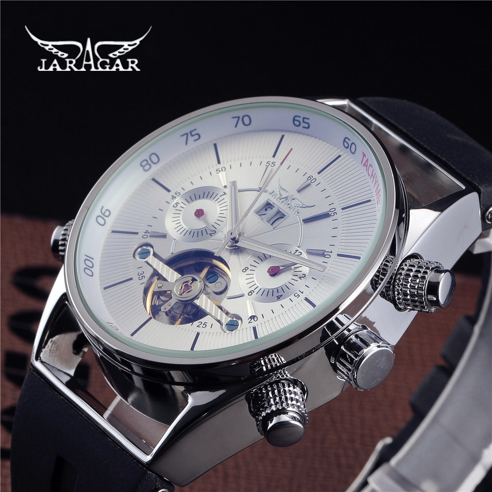 Jaragar Self-winding Clock Tourbillon Automatic Mechanical Rubber Auto Date Men Watch Luxury Sport Watches Army Male Wristwatch