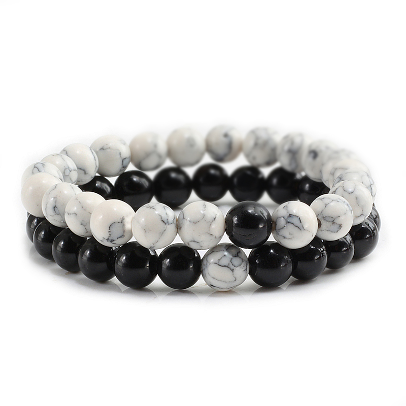 2 Pcs/set Couple Distance Colorful Beads Bracelet Natural Stone Strand Yoga Bracelets Char