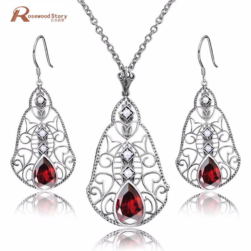 Freshwater Natural Pearl Jewelry Sets Red Rhinestone 925 Sterling Silver Pendant Necklace Pearl Earrings Wedding Jewelry Sets 2 3mm red natural agate necklace multi layers 925 sterling silver with real pearl fine womne jewelry wedding party necklace