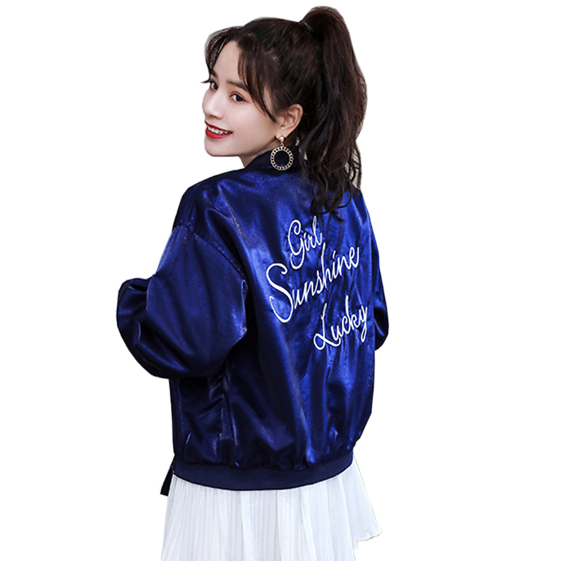 Bomber   Jackets   Women 2019 New Women's   Basic     Jacket   Fashion Letter print High Quality Outerwear Female Baseball Women Coat LU743