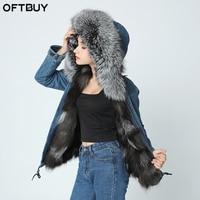 2019 new denim jacket winter jacket women genuine natural fox real fur coat Hooded With Raccoon Dog Fur Collar Thick Warm Fur