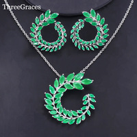 ThreeGraces 패션 새로운 보석 세트 럭셔리 CZ 올리브 분기 잎 모양 녹색 펜던트 목걸이