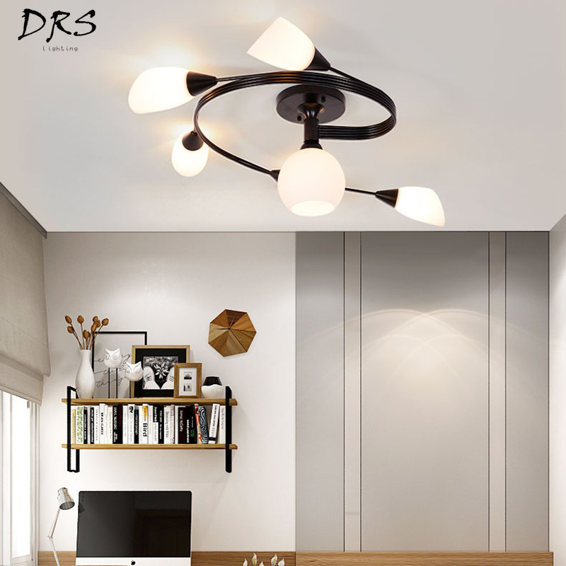 Nordic Iron Ceiling Lamp Living Room Study Bedroom Lighting LED Art Lamp Hanging Lamp Family Decoration Luminaire Suspendu LedNordic Iron Ceiling Lamp Living Room Study Bedroom Lighting LED Art Lamp Hanging Lamp Family Decoration Luminaire Suspendu Led