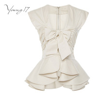 Young17 Blouse Summer Office Wear Blouses Women Sleeveless V Neck Falbala Patchwork Bowknot Zipper Solid Apricot