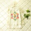 Flower print 2016 100% cotton Short Sleeve girls tshirt Summer baby girls t-shirt kids clothes children's apparel Girls tops 3-7