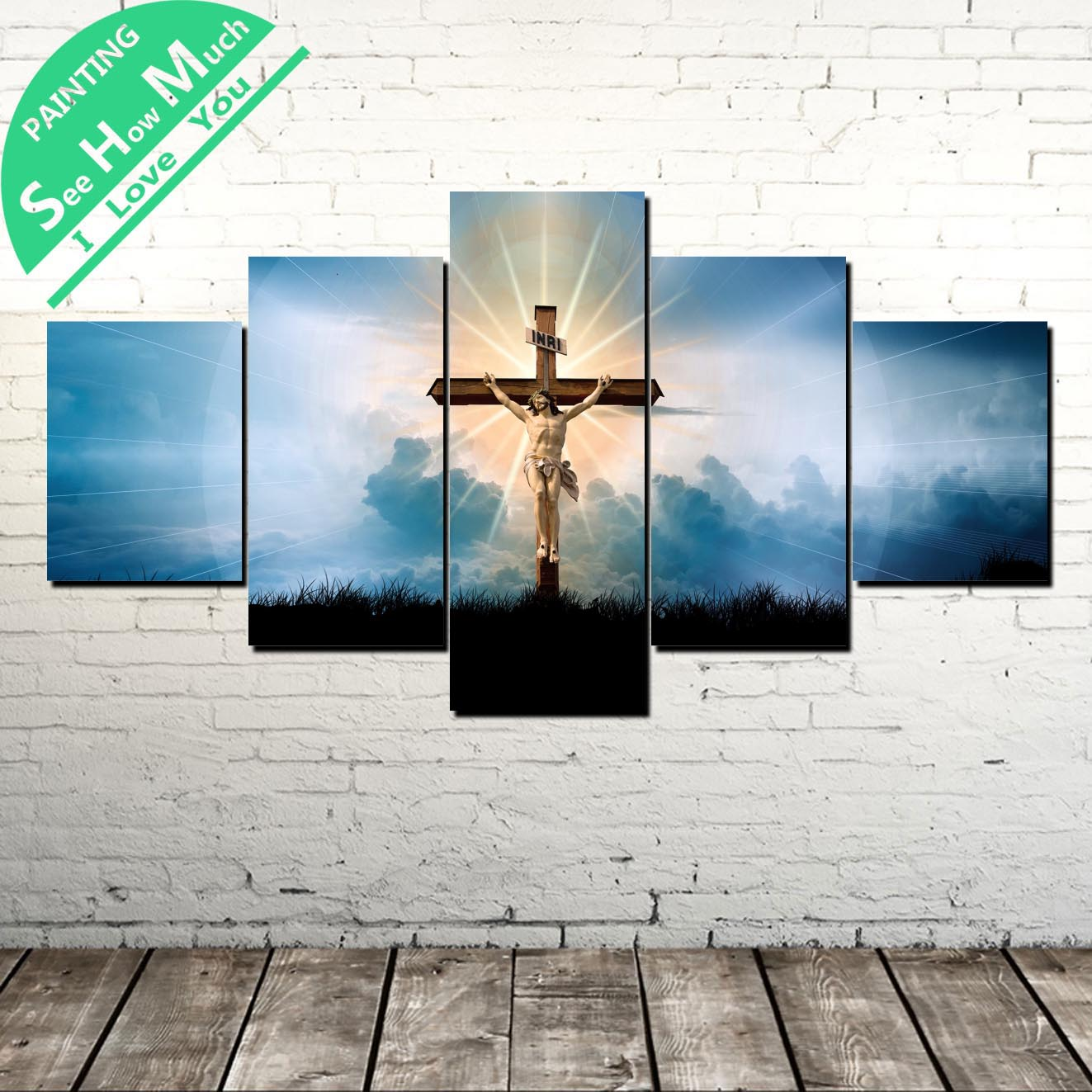 5 Piece Christian Crossing Wall Art Canvas Poster and Print Painting Decorative Picture Home Decor