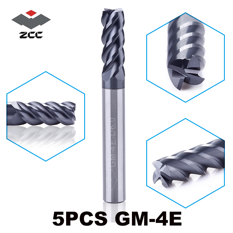 5pcs/lot GM-4E series D1.0-D6.0 cnc wood metal router bits TiAIN coated 50HRC solid carbide 4 flute 1 - 6 mm end mill zcc ct цены