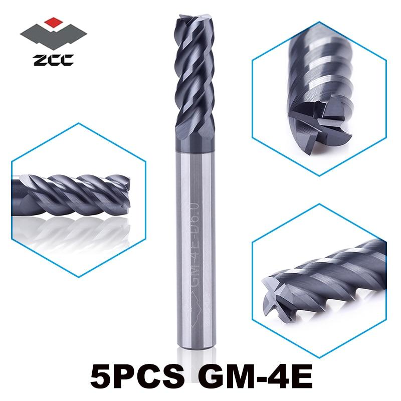 5pcs/lot GM-4E Series D1.0-D6.0 Cnc Wood Metal Router Bits TiAIN Coated 50HRC Solid Carbide 4 Flute 1 - 6 Mm End Mill Zcc Ct