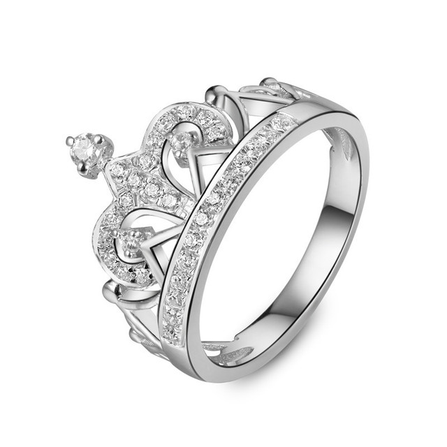 Edle 925 Sterling Silber Schmuck Weissgold Farbe Royal Crown Ring