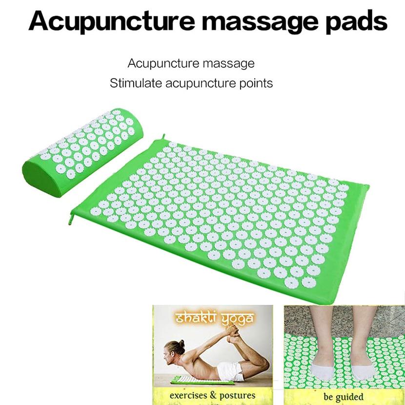 Beurha Massager Mat Set Yoga Massager Pillow Spike Cushion Acupressure Relieve Stress Pain Carry Bag Portable 67*42 Body Pain massager  appro 67 42cm cushion mat