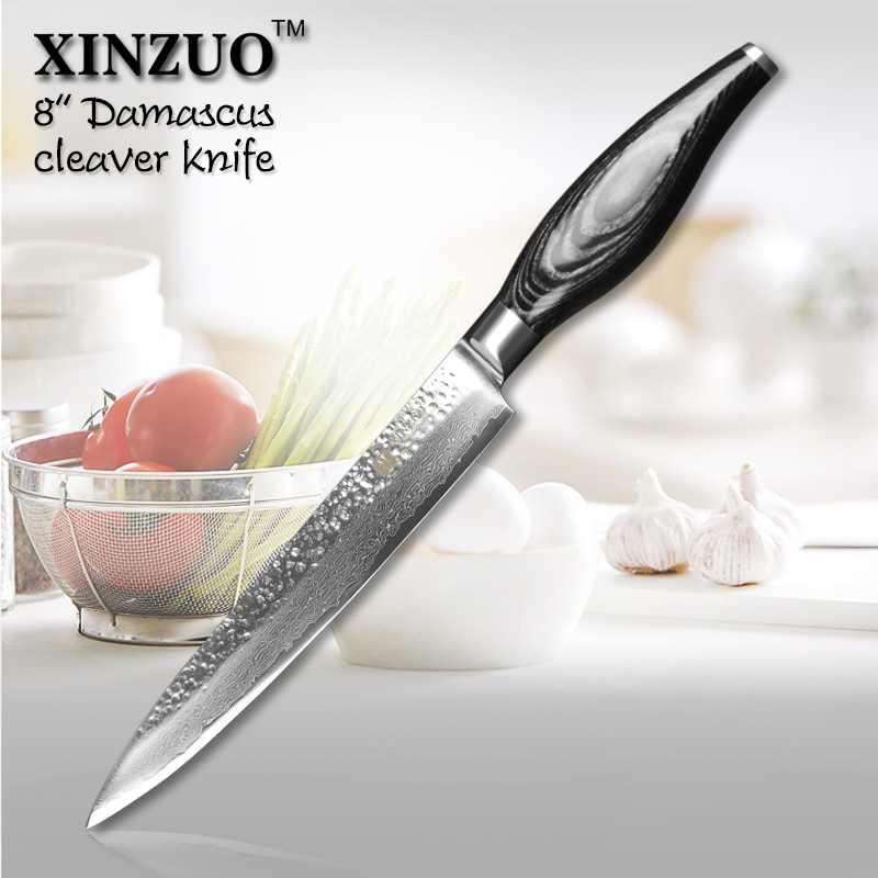 XINZUO 8 inch cleaver font b knife b font Japanese Damascus kitchen font b knife b
