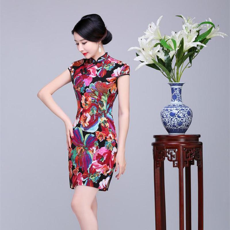 Oversize S-XXXXXL Women Novelty Print Floral Qipao Vintage Chinese Style Bride Wedding Dress Mandarin Collar Sexy Mini Cheongsam