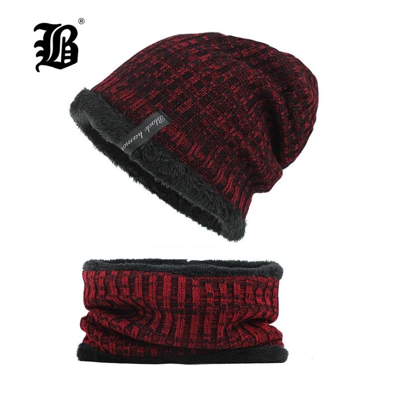 [FLB] Winter Knitted Hat   Beanie   Men Scarf   Skullies     Beanies   Winter Hats For Women Men Caps Gorras Bonnet Mask Brand Hats F18005