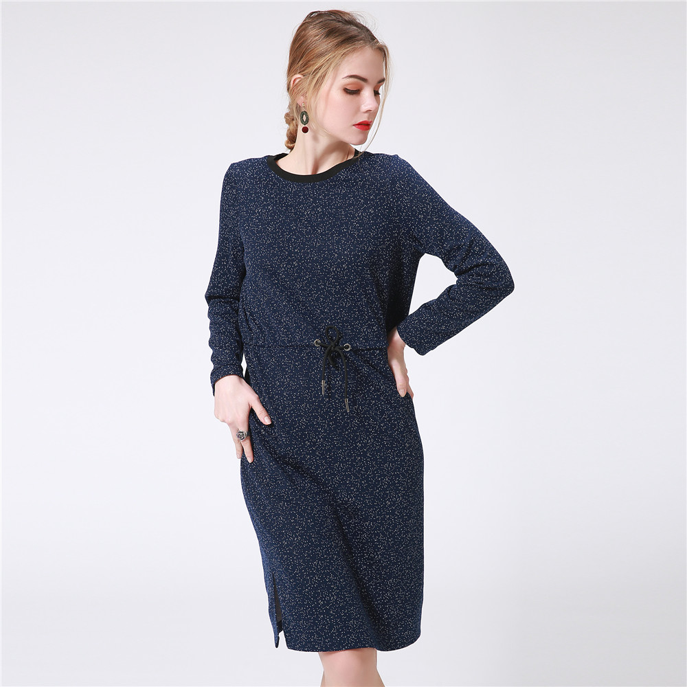 Women Spring Winter Long Sleeve Dresses 2017 Female Casual Straight O-neck Knee-Length Red Blue Knitted Maxi Dresses For Women bazaleas spring autum pockets straight denim jeans women bottom flower birds embroidery jean female blue casual pants