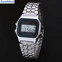 2016 hot Digital stainless steel watches Led men Sports Watch luminous F91W slim electronic  WristWatch
