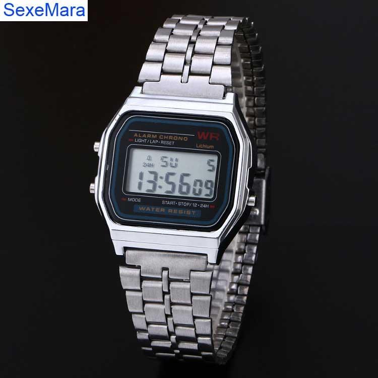 2016 hot Digital stainless steel watches Led men Sports Watch luminous F91W slim electronic  WristWatch