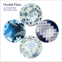 8 Inch Brand Dinner Plates High Quality Tableware Blue Floral Printed Desserts Ceramic Dishes Bone