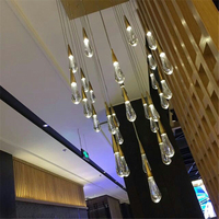 FUMAT Lighting Modern LED Crystal Chandeliers Water Drops Chandelier Light Gold Shade Chandelier Light Lighting Square Shape
