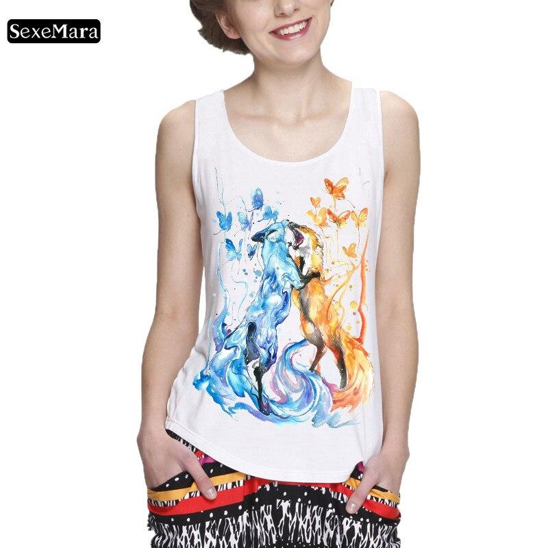 SexeMara Women's Sleeveless Tank Top Print Blue Wolf Golden Wolf And Butterflies Top T-Shirt Hip-Hop 2019 New Arrival