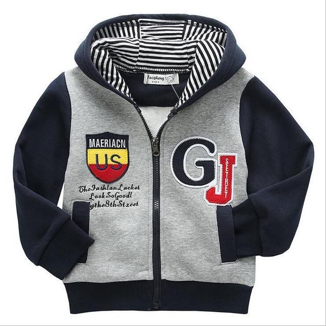 Segurança das crianças meninos hoodies camisolas primavera outono 2016 nova moda de lazer casaco de zíper outwear kid clothing outfit