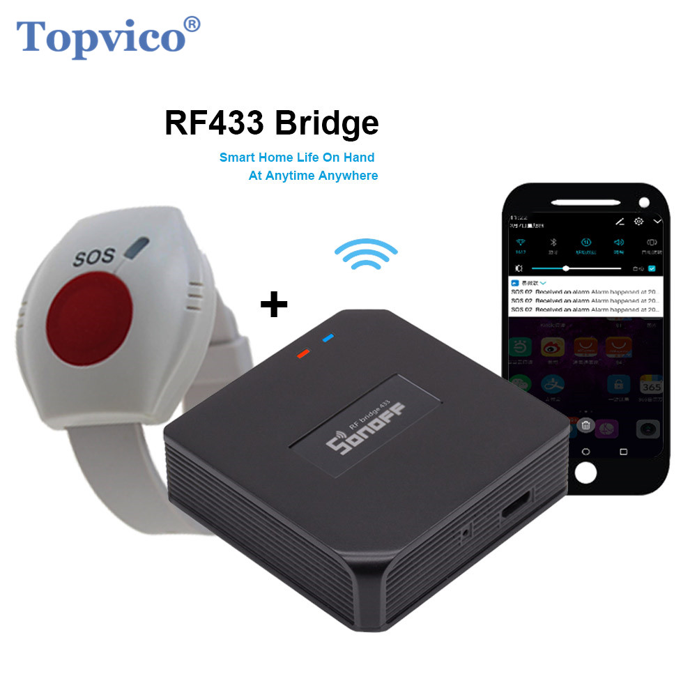 Topvico WIFI Panic Button for the Elderly RF 433mhz SOS Emergency Alarm Wirelss Watch Bracelet Old People Android IOS APP