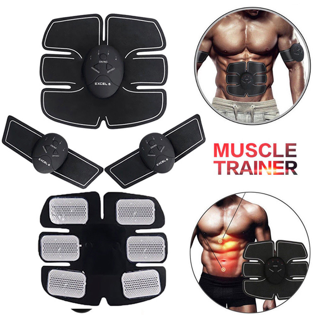 Factory Price 6 PACK EMS Smart Muscle Stimulator Abdominal Trainer Pad Hip  Slimming Massager Unisex Body Abdominal