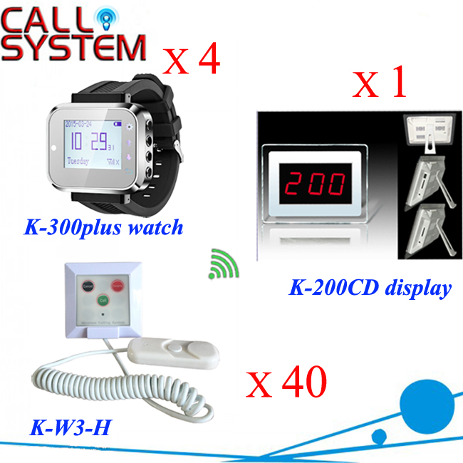 Digital paging button for elderly to call center equipment for clinic 1 receiver 4 wrist watches 40 beds buzzer with hand shake new restaurant equipment wireless buzzer calling system 25pcs table bell with 4 waiter pager receiver