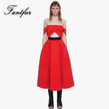 FANTFUR Luxury Runway Lace Dress Women Sexy Cross Off the Shoulder Strapless Hollow Out Long Maxi Dress Black Red Party Vestidos