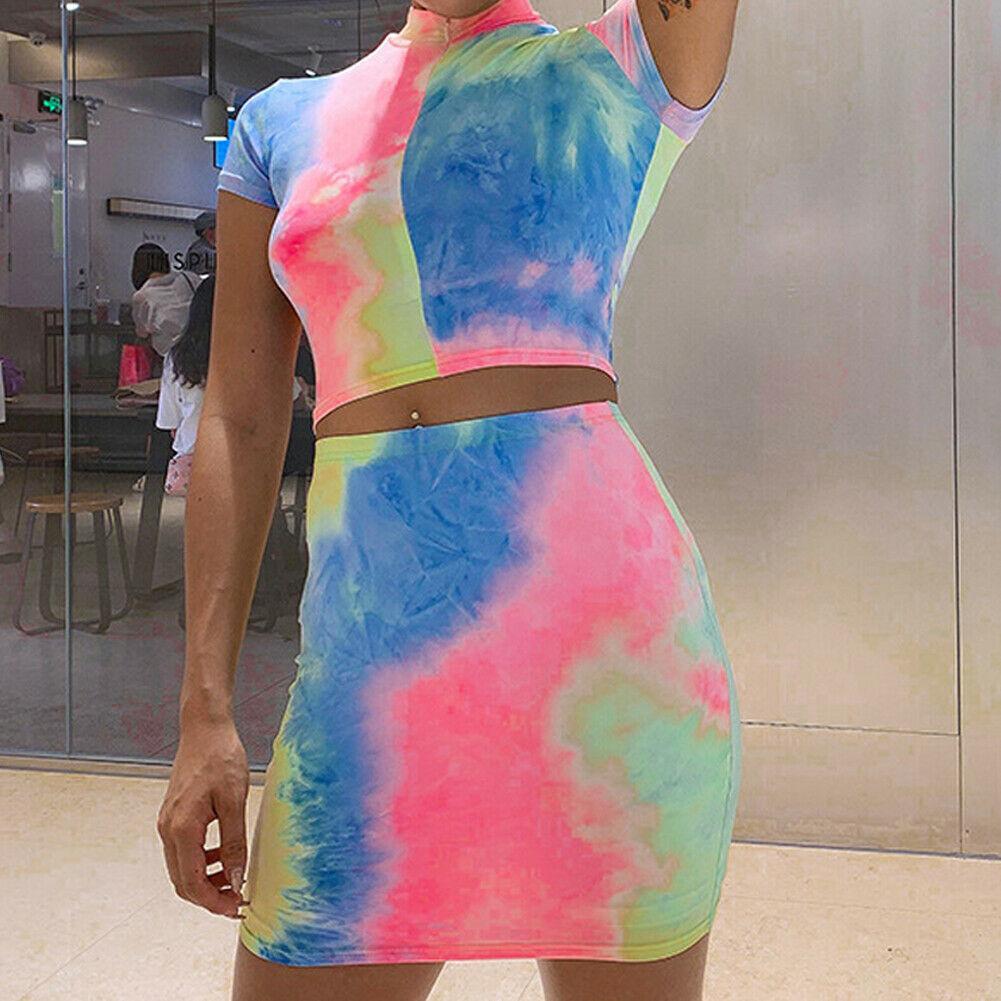 Hirigin 2020 New Women Summer 2pcs Sexy Set  Colorful Top Skirt Clubwear Set