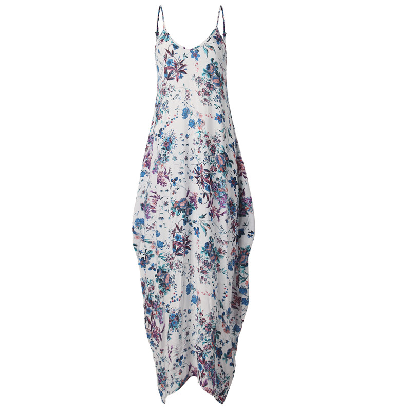 Print Floral Loose Boho Bohemian Beach Dress Women Sexy Strap V-Neck Retro Vintage Long Maxi Dress Summer 2017 Plus Size 3XL 9