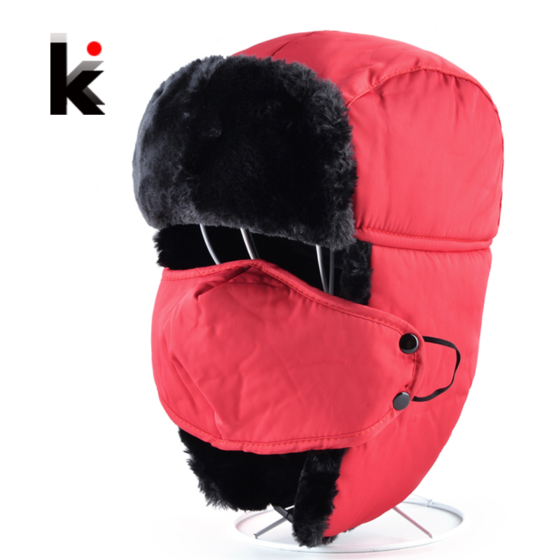2017 Russian Bomber Hats For Men And Women Faux Fur Warm Winter Unisex Earmuffs Cap With Face Mask Outdoor Thicker Snow Ski Hat