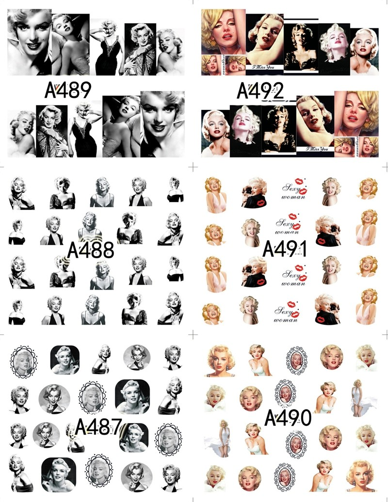 Image 3 - 12 sheets water decal nail art decorations nail sticker tattoo full Cover beauty Marilyn Monroe Decals manicure supplies A481492-in Stickers & Decals from Beauty & Health