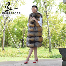 FURSARCAR 2018 New Real Fur Vest Women Long Style Natural Fox Winter Waistcoat Luxury Fashion Gilets With Collar