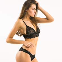 HDY Haoduoyi Solid Black Bra & Brief Sets Women Pull Up Lace Hem Bralette Low Waist Hot Sexy Panties Floral V Neck Intimates