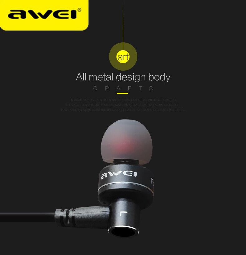 AWEI ES-10TY metalli-stereokuulokkeet, langallinen, kuulokkeet, - Kannettava ääni ja video - Valokuva 4