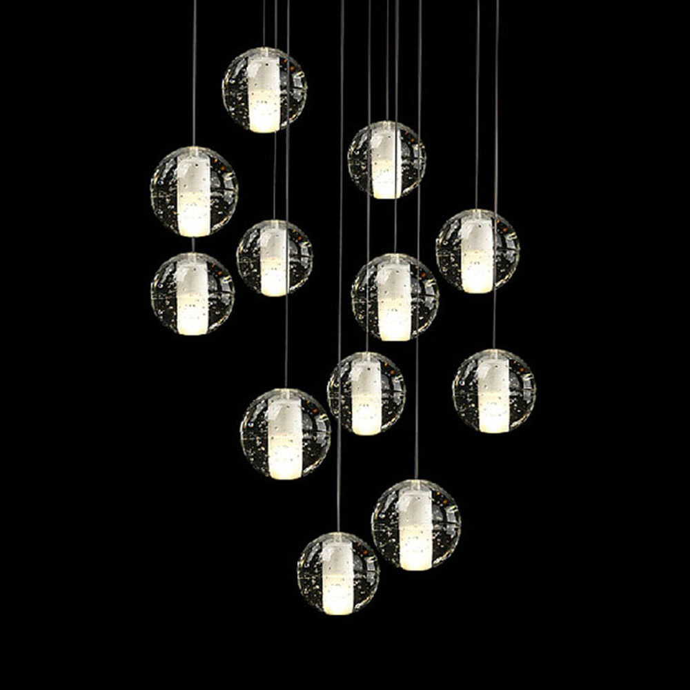 Double staircase long chandelier Nordic restaurant creative crystal glass ball modern bar bar meteor shower 14 head lamps 2017 free shipping smart wall switch crystal glass panel switch us 2 gang remote control touch switch wall light switch for led