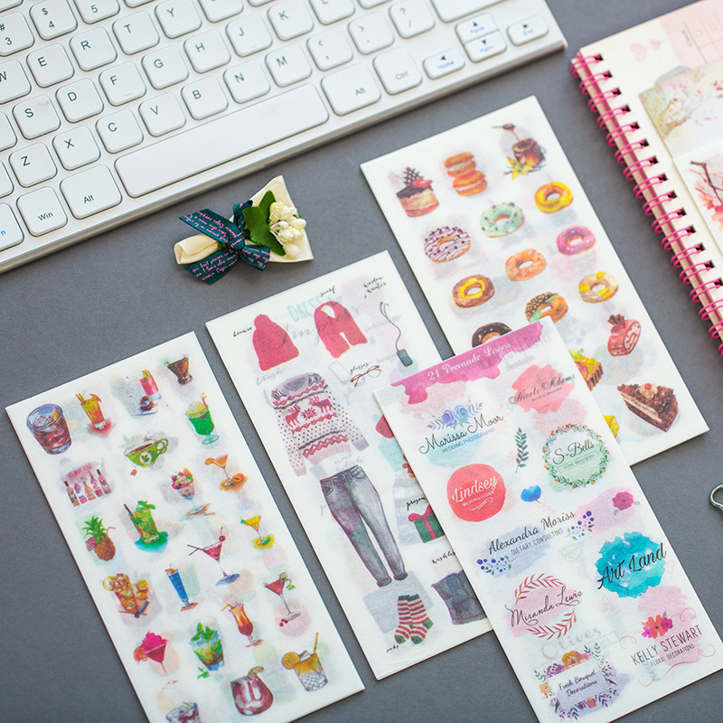 Creative watercolor afternoon tea Decorative Stickers Adhesive Stickers DIY Decoration Diary Stationery Stickers Children Gift creative watercolor afternoon tea decorative stickers adhesive stickers diy decoration diary stationery stickers children gift