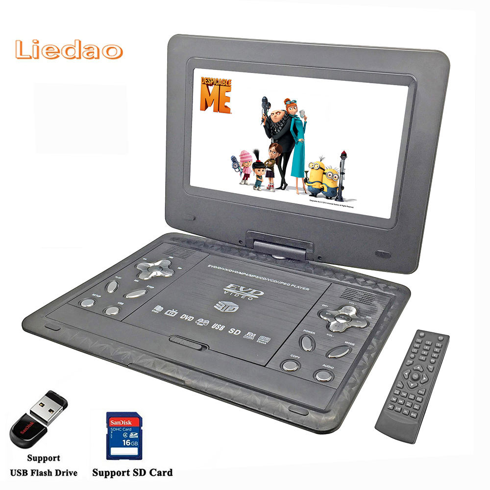 Liedao 13.9 inch Portable DVD EVD VCD SVCD CD Player With Game and radio Function TV AV Support SD MS MMC Card 9 portable dvd player w game radio function black