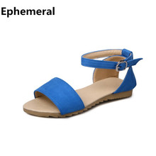 Ladies red sandals with strap open toe flock leather summer casual flip flops for women plus size 43 gladiator shoes for girls