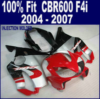 ABS Injection Plastic Silver Red Fairing Kit For Honda Cbr 600 F4i 04 05 06 07