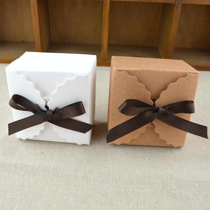 Festival Supplies Kotak Permen Tas Coklat Kertas Hadiah Paket untuk Ulang Tahun Pernikahan Pesta DIY Kraft/Putih Gelombang Pita WH