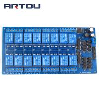 1pcs 16 Channel 12V Relay Module Board With Optocoupler Power Supply ARM DSP Free Shipping