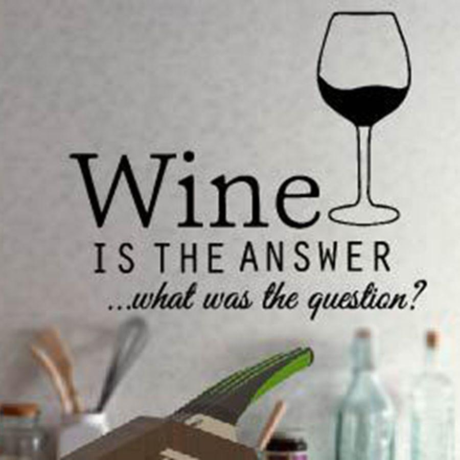 משלוח חינם מצחיק מטבח מדבקות יין מדבקות, קיר מטבח עיצוב קישוט יין ויניל, F2052m (35x30cm)