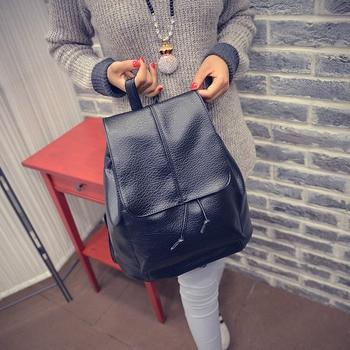 Simple Fashion Korean Women Backpack Leather Solid Color Vintage Ladies Girl School Shoulder Bag Big Capacity For Travel WML99