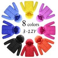 8 Colors 6 Size Hooded Solid Girls Boys Winter Coat Long Sleeve Boys Winter Jacket Children