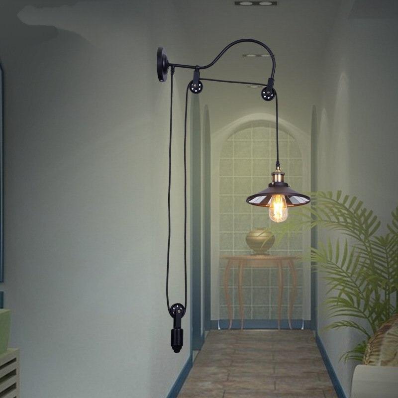 Здесь продается  Pulley Lamps Lighting Fixutes Wall Lamps Iron Retro living room Industrial Vintage Wall Lamps Home Deco  Свет и освещение