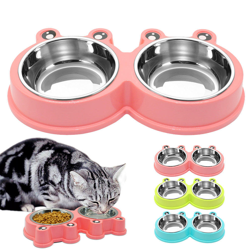 Pet Dog Bowl Food Water Dish Feeder Stainless Steel Cat Puppy Drinking Feeder Non-skid Pet Dog Double Bowls Pink Blue