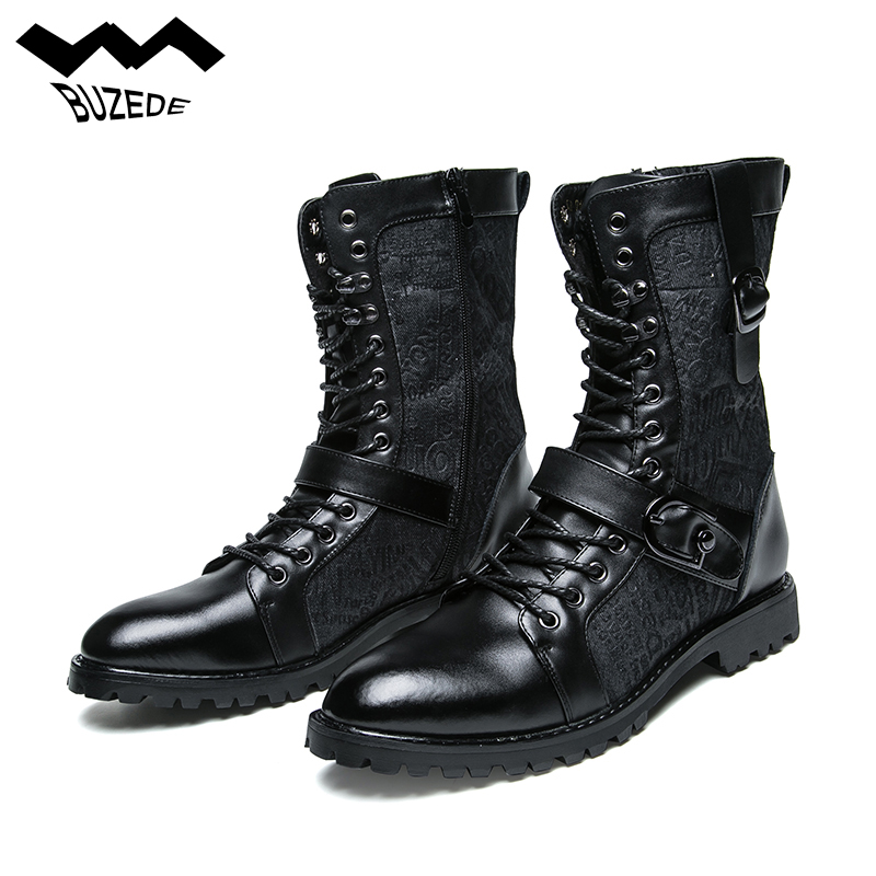 все цены на Men's Lace-up PU Genuine Leather Motorcycle Boots Work Boots Military Uniform Boots Martin Punk Boots Combat Shoes Metal Decorat